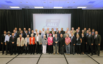 CHARLOTTE, NC - JUNE 14:  The panel of voters pose for a portrait during the NASCAR Hall of Fame Voting Day at NASCAR Hall of Fame on June 14, 2011 in Charlotte, North Carolina.  (Photo by Jared C. Tilton/Getty Images for NASCAR)