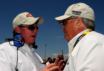 SONOMA, CA - JUNE 21: Team owners Richard Childress (L) and Rick Hendrick (R) speak prior to the start of the NASCAR Sprint Cup Series Toyota/Save Mart 350 at the Infineon Raceway on June 21, 2009 in Sonoma, California.  (Photo by Rusty Jarrett/Getty Imag