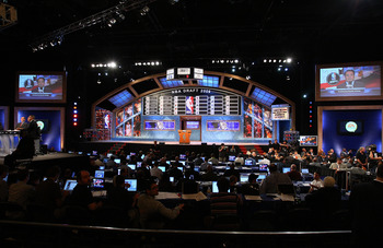 NEW YORK - JUNE 25:  A general view of the stage during the 2009 NBA Draft at the Wamu Theatre at Madison Square Garden June 25, 2009 in New York City. NOTE TO USER: User expressly acknowledges and agrees that, by downloading and/or using this Photograph,