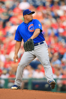 PHILADELPHIA - JUNE 10: Starting pitcher Carlos Zambrano #38 of the Chicago Cubs throws during a game against the Philadelphia Phillies at Citizens Bank Park on June 10, 2011 in Philadelphia, Pennsylvania. The Phillies won 7-5. (Photo by Hunter Martin/Get