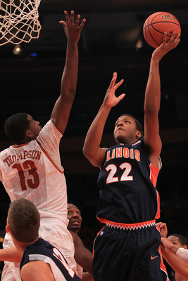 NEW YORK - NOVEMBER 18: Jereme Richmond #22 of the Illinois Fighting Illini shoots over Tristan Thompson #13 of the Texas Longhorns during the 2k Sports Classic at Madison Square Garden on November 18, 2010 in New York, New York.  (Photo by Chris McGrath/