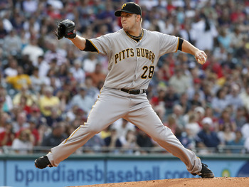 CLEVELAND, OH - JUNE 18:   Paul Maholm #28 of the Pittsburgh Pirates pitches against the Cleveland Indians during the first inning of their game on June 18, 2011 at Progressive Field in Cleveland, Ohio.  (Photo by David Maxwell/Getty Images)