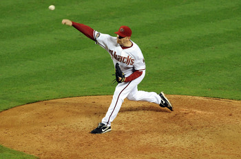 PHOENIX - JUNE 16:  J.J. Putz #40 of the Arizona Diamondbacks delivers a pitch against the San Francisco Giants at Chase Field on June 16, 2011 in Phoenix, Arizona.  (Photo by Norm Hall/Getty Images)