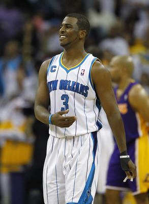 NEW ORLEANS, LA - APRIL 24:  Chris Paul #3 of the New Orleans Hornets reacts to a call during a game with the Los Angeles Lakers in Game Four of the Western Conference Quarterfinals in the 2011 NBA Playoffs at New Orleans Arena on April 24, 2011 in New Or