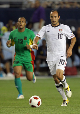 KANSAS CITY, KS - JUNE 14:  Landon Donovan #10 of the USA controls the ball during the GoldCup game against Guadeloupe on June 14, 2011 at LiveStrong Sporting Park in Kansas City, Kansas.  (Photo by Jamie Squire/Getty Images)