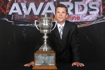 LAS VEGAS - JUNE 23:  Martin St. Louis of the Tampa Bay Lightning poses for a portrait with the Lady Byng Memorial Trophy during the 2010 NHL Awards at the Palms Casino Resort on June 23, 2010 in Las Vegas, Nevada.  (Photo by Bruce Bennett/Getty Images)