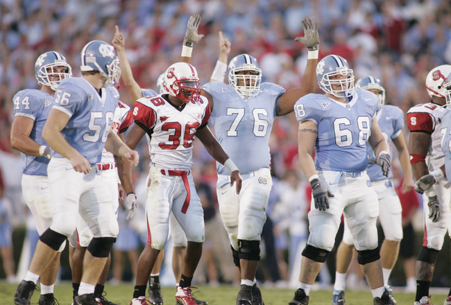 CHAPEL HILL, NC - OCTOBER 9:  The North Carolina Tar Heels celebrate during the game against the North Carolina State Wolfpack on October 9, 2004 at Kenan Stadium Stadium in Chapel Hill, North Carolina. North Carolina defeated North Carolina State 30-24.