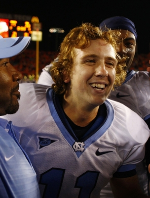 BLACKSBURG, VA - OCTOBER 29:  Kicker Casey Barth #11 of the North Carolina Tar Heels smiles into cameras after making the game-winning field goal over the Virginia Tech University Hokies after the game at Lane Stadium on October 29, 2009 in Blacksburg, Vi