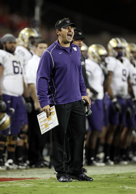 TUCSON, AZ - OCTOBER 23:  Head coach Steve Sarkisian of the Washington Huskies during the college football game against the Arizona Wildcats at Arizona Stadium on October 23, 2010 in Tucson, Arizona.   The Wildcats defeated the Huskies 44-14.  (Photo by C