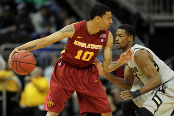 KANSAS CITY, MO - MARCH 09:  Diante Garrett #10 of the Iowa State Cyclones looks to move the ball against the Colorado Buffaloes during the first round of the 2011 Phillips 66 Big 12 Men's Basketball Tournament at Sprint Center on March 9, 2011 in Kansas