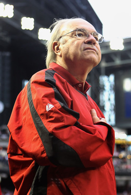 PHOENIX, AZ - APRIL 08:  Owner Ken Kendrick of the Arizona Diamondbacks stands attended for the National Anthem before the Major League Baseball home opening game against the Cincinnati Reds at Chase Field on April 8, 2011 in Phoenix, Arizona. The Diamond