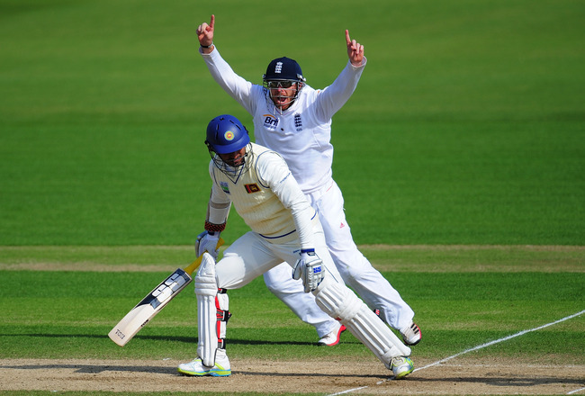 CARDIFF, WALES - MAY 30:  England fielder Ian Bell celebrates after Sri Lanka batsman Kumar Sangakkara is dismissed during day five of the 1st npower test match between England and Sri Lanka at the Swalec Stadium on May 30, 2011 in Cardiff, Wales.  (Photo