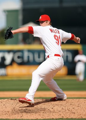 JUPITER, FL - MARCH 10:  Relief pitcher Shelby Miller #91 of the St Louis Cardinals pitches against the Washington Nationals at Roger Dean Stadium on March 10, 2010 in Jupiter, Florida.  (Photo by Doug Benc/Getty Images)