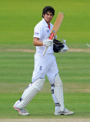 LONDON, ENGLAND - JUNE 07:  Alastair Cook of England celebrates his century during day five of the 2nd npower Test Match between England and Sri Lanka at Lord's Cricket Ground on June 7, 2011 in London, England.  (Photo by Mike Hewitt/Getty Images)
