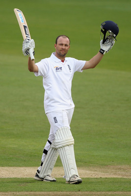 CARDIFF, WALES - MAY 29: Jonathan Trott of England celebrates reaching his double century during day four of the 1st npower test match between England and Sri Lanka at the Swalec Stadium on May 29, 2011 in Cardiff, Wales.  (Photo by Michael Steele/Getty I