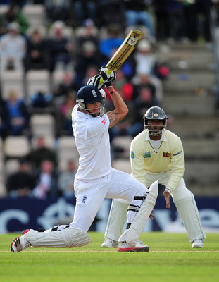 SOUTHAMPTON, ENGLAND - JUNE 18:  Kevin Pietersen of England picks up some runs watched by Tharanga Paranavitana of Sri Lanka during day three of the 3rd npower Test Match between England and Sri Lanka at the Rose Bowl June 18, 2011 in Southampton, England