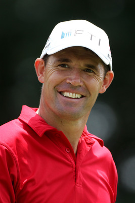 BETHESDA, MD - JUNE 18:  Padraig Harrington of Ireland smiles as he walks off the second tee during the third round of the 111th U.S. Open at Congressional Country Club on June 18, 2011 in Bethesda, Maryland.  (Photo by Andrew Redington/Getty Images)