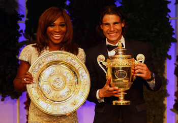 LONDON, ENGLAND - JULY 04:  Serena Williams of USA and Rafael Nadal of Spain with their winners trophies at the Wimbledon Championships 2010 Winners Ball at the InterContinental Park Lane Hotel on July 4, 2010 in London, England.  (Photo by Julian Finney/