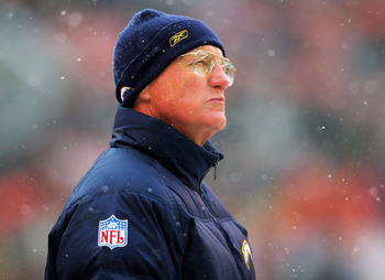 CLEVELAND - DECEMBER 19:  Head coach Marty Schottenheimer of the San Diego Chargers watches from the sidelines as his team plays the Cleveland Browns December 19, 2004 at Cleveland Browns Stadium in Cleveland, Ohio.  (Photo by Matthew Stockman/Getty Image