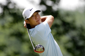 BETHESDA, MD - JUNE 18:  Anthony Kim hits his tee shot on the fourth hole during the third round of the 111th U.S. Open at Congressional Country Club on June 18, 2011 in Bethesda, Maryland.  (Photo by Rob Carr/Getty Images)