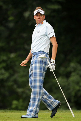 BETHESDA, MD - JUNE 17:  Ian Poulter of England walks off the tee bosx on  the 14th hole during the second round of the 111th U.S. Open at Congressional Country Club on June 17, 2011 in Bethesda, Maryland.  (Photo by Jamie Squire/Getty Images)