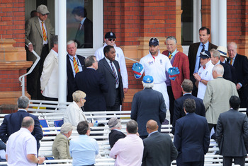 LONDON, ENGLAND - JUNE 07: Matt Prior of England talks to MCC members after a window was broken during day five of the 2nd npower Test Match between England and Sri Lanka at Lord's Cricket Ground on June 7, 2011 in London, England.  (Photo by Mike Hewitt/