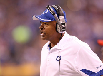 INDIANAPOLIS - NOVEMBER 01: Jim Caldwell the Head Coach of Indianapolis Colts gives instructions to his team during the NFL game against the Houston Texans  at Lucas Oil Stadium on November 1, 2010 in Indianapolis, Indiana.  (Photo by Andy Lyons/Getty Ima