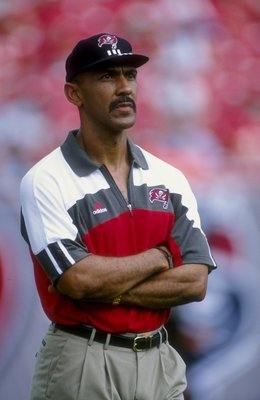 20 Sep 1998:   Head coach Tony Dungy of the Tampa Bay Buccaneers  looks from the sidlines at the game against the Chicago Bears at Raymond James Stadium in Tampa, Florida. The Buccaneers defeated the Bears 27-15. Mandatory Credit: Scott Halleran  /Allspor