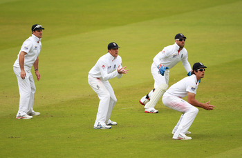 LONDON, ENGLAND - JUNE 06:  (L-R) Andrew Strauss, Graeme Swann, wicketkeeper Matt Prior and Alastair Cook of England field in the slip cordon during day four of the 2nd npower Test Match between England and Sri Lanka at Lord's Cricket Ground on June 6, 20
