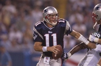 23 Sep 2001: Drew Bledsoe #11 of the New England Patriots goes back for a pass against the New York Jets during their game at Foxboro Stadium in Foxboro, Massachusetts. The Jets won 10-3. DIGITAL IMAGE. Mandatory Credit: Ezra Shaw/ALLSPORT