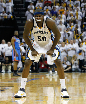 MEMPHIS, TN - MAY 13:  Zach Randolph #50 of the Memphis Grizzlies against the Oklahoma City Thunder in Game Six of the Western Conference Semifinals in the 2011 NBA Playoffs at FedExForum on May 13, 2011 in Memphis, Tennessee.  NOTE TO USER: User expressl