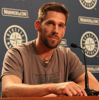 SEATTLE - JULY 09:  Cliff Lee of the Seattle Mariners speaks at a press conference announcing his trade to the Texas Rangers for first baseman Justin Smoak, pitcher Blake Beavan, Double-A Frisco reliever Josh Lueke and second baseman Matt Lawson at Safeco