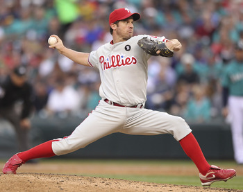 SEATTLE - JUNE 17:  Starting pitcher Roy Oswalt #44 of the Philadelphia Phillies throws against the Seattle Mariners at Safeco Field on June 17, 2011 in Seattle, Washington. (Photo by Otto Greule Jr/Getty Images)
