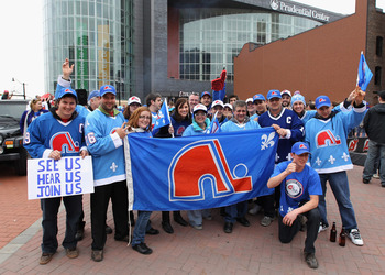 NEWARK, NJ - APRIL 10:  Members of the 'Nordiques Nation' converge on Prudential Center prior to the game between the New Jersey Devils and the Boston Bruins on April 10, 2011 in Newark, New Jersey.  (Photo by Bruce Bennett/Getty Images)