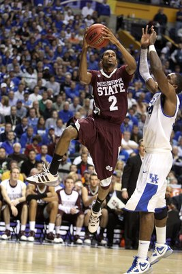 NASHVILLE, TN - MARCH 14:  Ravern Johnson #2 of the Mississippi State Bulldogs drives for a shot attempt against the Kentucky Wildcats during the final of the SEC Men's Basketball Tournament at the Bridgestone Arena on March 14, 2010 in Nashville, Tenness