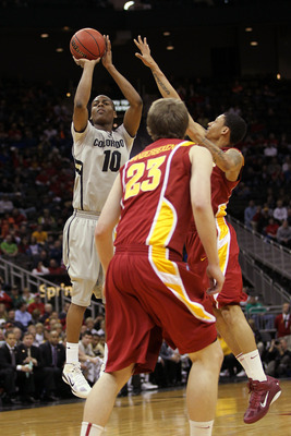KANSAS CITY, MO - MARCH 09:  Alec Burks #10 of the Colorado Buffaloes takes a shot against the Iowa State Cyclones during their first round game in the 2011 Phillips 66 Big 12 Men's Basketball Tournament at Sprint Center on March 9, 2011 in Kansas City, M