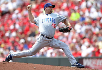 CINCINNATI, OH - JUNE 08:  Ryan Dempster #46 of the Chicago Cubs throws a pitch during the game against the Cincinnati Reds at Great American Ball Park on June 8, 2011 in Cincinnati, Ohio.  (Photo by Andy Lyons/Getty Images)