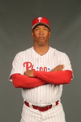 CLEARWATER, FL - FEBRUARY 24:  Milt Thompson #25 of the Philadelphia Phillies poses for a photo during Spring Training Media Photo Day at Bright House Networks Field on February 24, 2010 in Clearwater, Florida.  (Photo by Nick Laham/Getty Images)