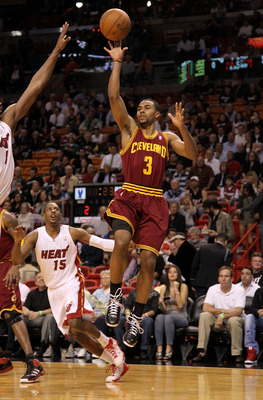MIAMI, FL - JANUARY 31: Ramon Sessions #3 of the Cleveland Cavaliers takes a shot during a game against the Miami Heat  at American Airlines Arena on January 31, 2011 in Miami, Florida. NOTE TO USER: User expressly acknowledges and agrees that, by downloa
