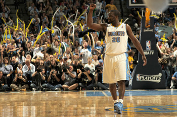 DENVER, CO - APRIL 25:  Raymond Felton #20 of the Denver Nuggets celebrates late in the fourth quarter against the Oklahoma City Thunder in Game Four of the Western Conference Quarterfinals in the 2011 NBA Playoffs on April 24, 2011 at the Pepsi Center in