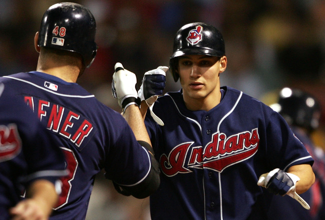 BOSTON - MAY 30:  Grady Sizemore #24 of the Cleveland Indians is congratulated by teammate Travis Hafner #48 after Sizemore hit a two run homer in the sixth inning against the Boston Red Sox on May 30, 2007 at Fenway Park in Boston, Massachusetts.  (Photo