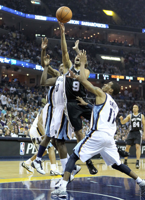 MEMPHIS, TN - APRIL 29:  Tony Parker #9 of the San Antonio Spurs shoots the ball while defended by Mike Conley #11 of the Memphis Grizzlies in Game Six of the Western Conference Quarterfinals in the 2011 NBA Playoffs at FedExForum on April 29, 2011 in Mem
