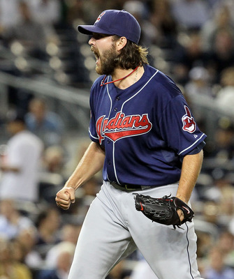 NEW YORK, NY - JUNE 13:  Chris Perez #54 of the Cleveland Indians celebrates getting the final out of the game against the New York Yankees on June 13, 2011 at Yankee Stadium in the Bronx borough of New York City. Cleveland defeated the Yankees 1-0.  (Pho