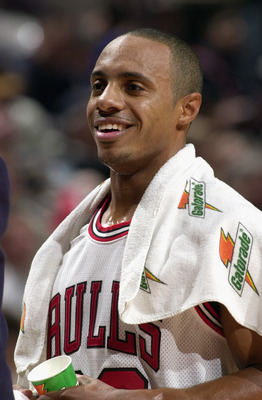 CHICAGO - JANUARY 13:  Jay Williams #22 of the Chicago Bulls smiles during the NBA game against the New York Knicks at the United Center on January 13, 2003 in Chicago, Illinois.  The Bulls won 101-94.  NOTE TO USER:  User expressly acknowledges and agree