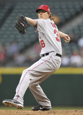 SEATTLE - JUNE 14:  Starting pitcher Jered Weaver #36 of the Los Angeles Angels of Anaheim pitches against the Seattle Mariners at Safeco Field on June 14, 2011 in Seattle, Washington. (Photo by Otto Greule Jr/Getty Images)