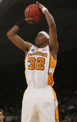 PROVIDENCE, RI - MARCH 20:  Scotty Hopson #32 of the Tennessee Volunteers shoots a three pointer in the second half against the Ohio Bobcats during the second round of the 2010 NCAA men's basketball tournament on March 20, 2010 at the Dunkin Donuts Center
