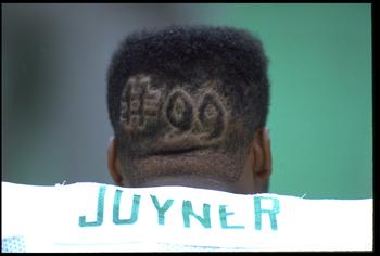 6 SEP 1992:  PHILADELPHIA EAGLES LINEBACKER SETH JOYNER REMEMBERS EAGLES DEFENSIVE LINEMAN JEROME BROWN #99 DURING THE EAGLES 15-13 WIN OVER THE NEW ORLEANS SAINTS AT VETERANS STADIUM IN PHILADELPHIA, PENNSYLVANIA.  MANDATORY CREDIT:  JEFF HIXON/ALLSPORT