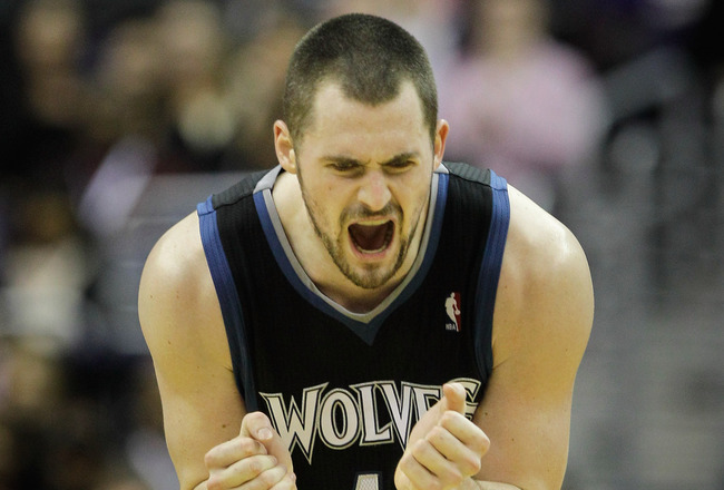 WASHINGTON, DC - MARCH 05:  Kevin Love #42 of the Minnesota Timberwolves reacts after missing a shot against the Washington Wizards at the Verizon Center on March 5, 2011 in Washington, DC. NOTE TO USER: User expressly acknowledges and agrees that, by dow