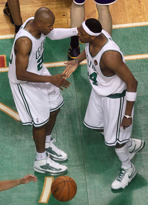 BOSTON - JUNE 10:  Ray Allen #20 and Paul Pierce #34 of the Boston Celtics celebrate near the end of the Celtics' win over the Los Angeles Lakers during Game Four of the 2010 NBA Finals on June 10, 2010 at TD Garden in Boston, Massachusetts. NOTE TO USER: