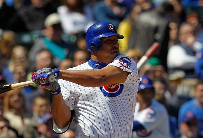 CHICAGO - APRIL 17: Carlos Zambrano #38 of the Chicago Cubs hits the ball against the Houston Astros at Wrigley Field on April 17, 2010 in Chicago, Illinois. The Astros defeated the Cubs 4-3. (Photo by Jonathan Daniel/Getty Images)